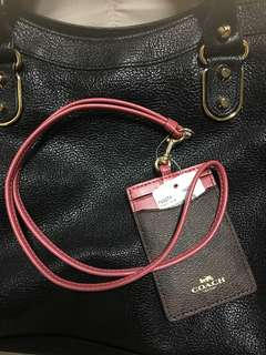 BNIB Coach lanyard (deep dusty pink + signature coach monogram)