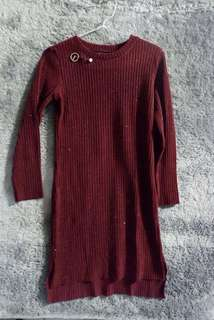 Maroon Slim Dress / Slim Dress