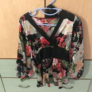 Kimono Top Floral Blouse Satin