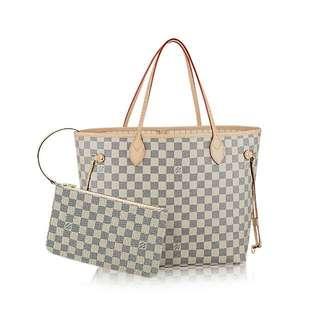 【保證真品】 LV N41361 NEVERFULL MM 經典白棋盤格紋子母束口購物包