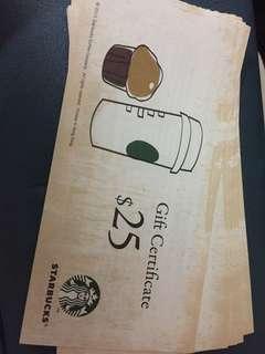Starbucks Gift Certificate 星巴克優惠卷 x 8