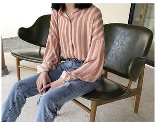 Instock Orange-Pink Striped Shirt