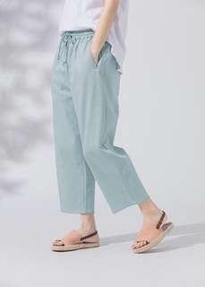 全新✨MOBO腰部鬆緊綁帶彈性斜紋寬褲XL