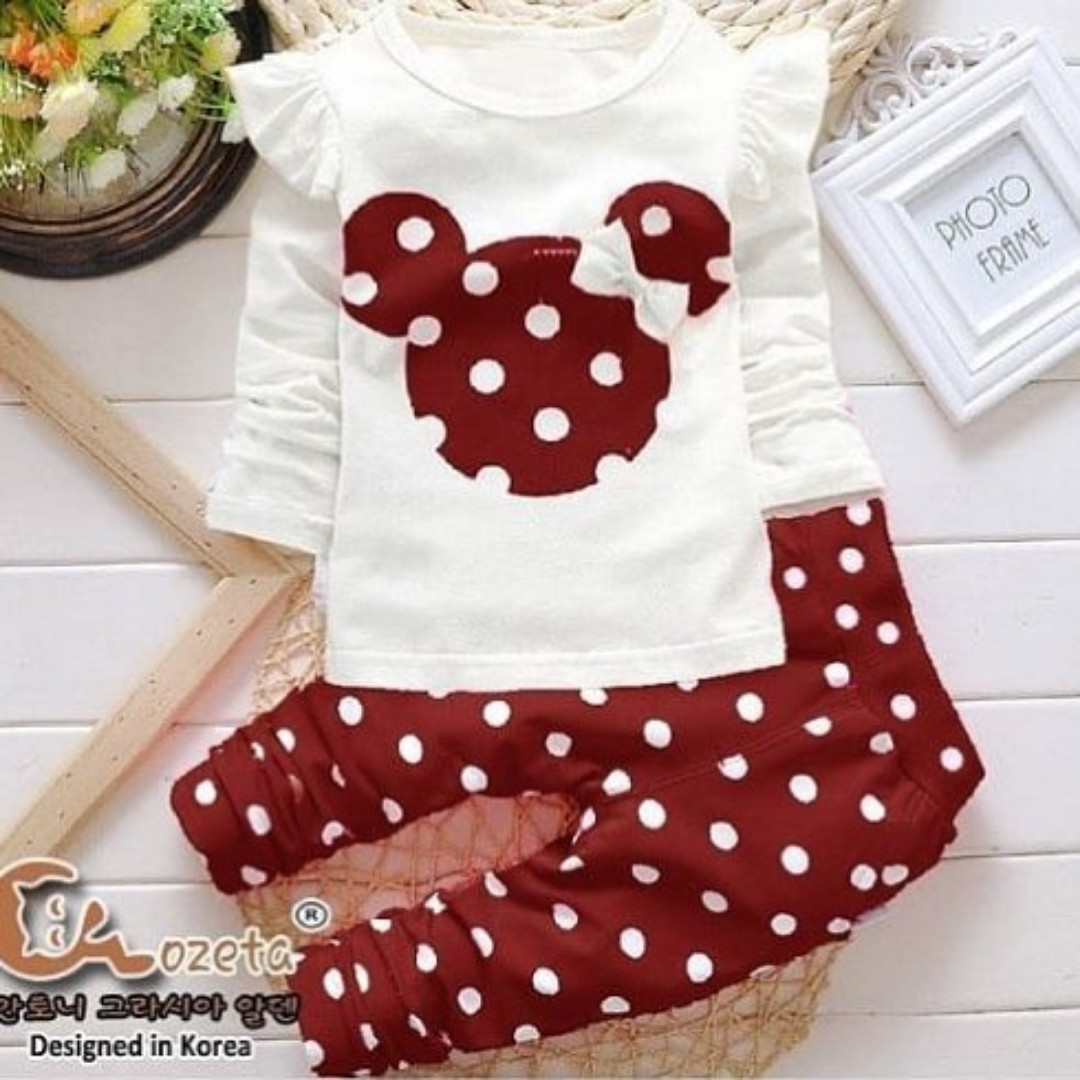 Baju Setelan Anak Mickey Mouse Merah Babies Kids Girls Apparel Mikimouse On Carousell