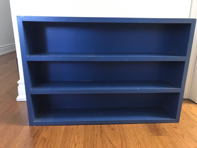 Blue shelving unit. Good condition overall. Height: 19 in Length: 28 in Depth: 6 in OBO
