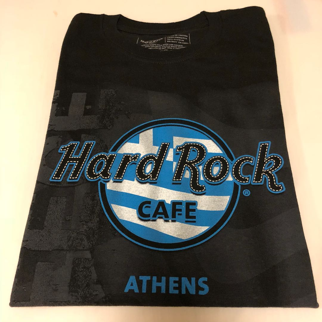 Hard Rock Flag Logo T-Shirt Athens, Men's Fashion, Clothes, Tops on Carousell