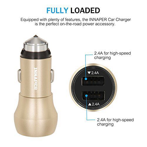 INNAPER 24W 4 8A High Output [Metal] Dual USB Car Charger for Apple iPhone  6/6 plus/6s/6s plus iPad (IOS) and Samsung Galaxy S7 /S6 Edge+/S6 Edge/Note