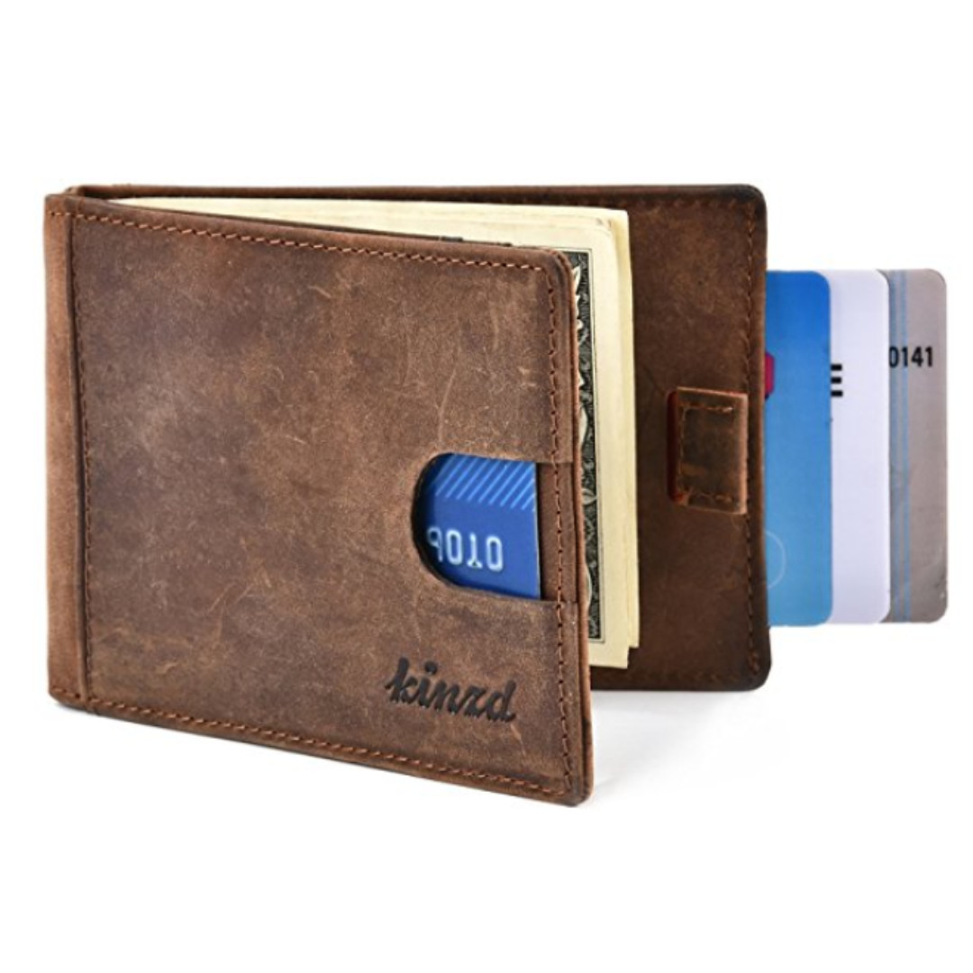 Kinzd: Minimalist Mens Money Clip Wallet, RFID Blocking Genuine Leather Slim Front Pocket Wallet