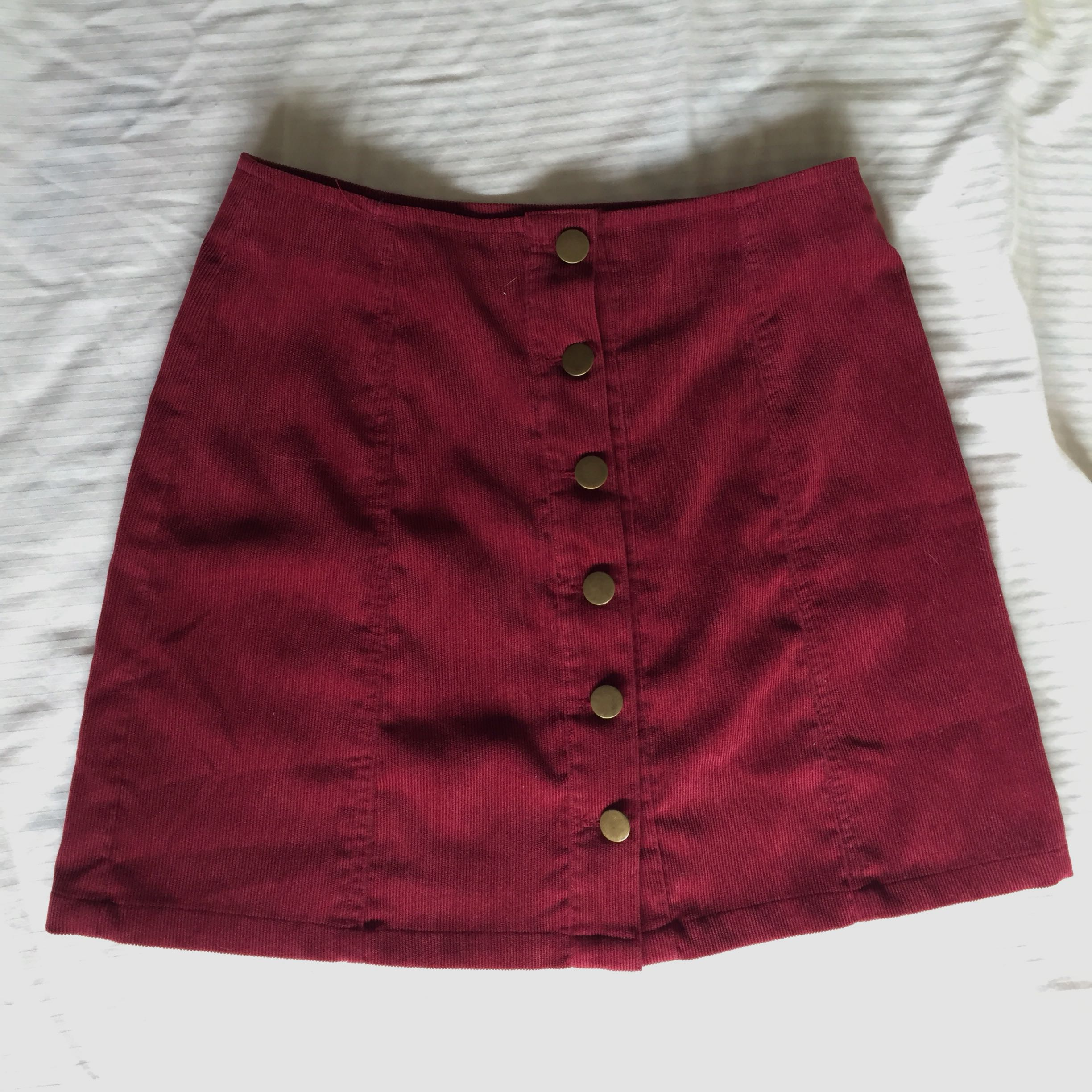 6ead6c874 Maroon denim skirt, Women's Fashion, Clothes on Carousell