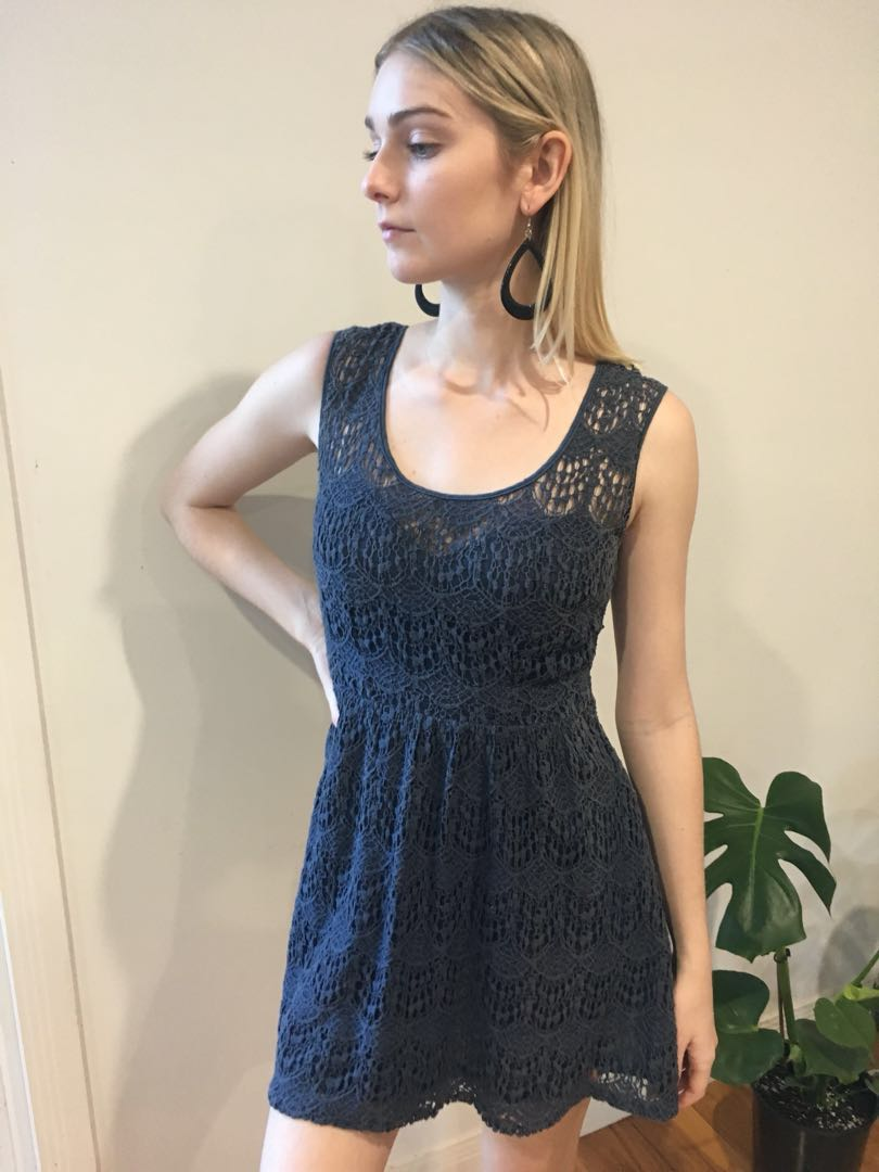 🌊Navy Blue Crochet Lace Dress