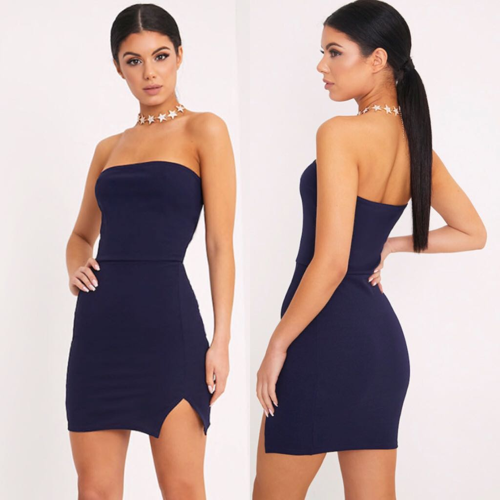 Navy body-con dress
