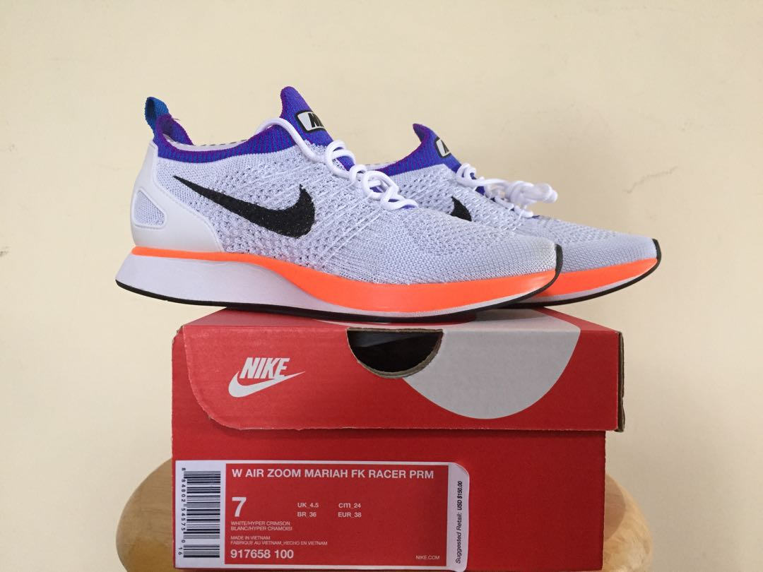 promo code 4e023 7f06d Nike Air Zoom Mariah Flynit Racer (White  Hyper Crimson- Pure Platinum)  US7, Women s Fashion, Shoes on Carousell