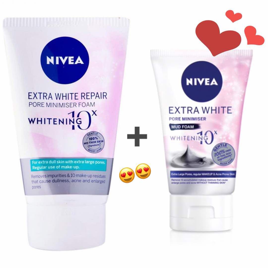 Nivea Extra White Repair Pore Minimiser Foam 100g Mud 50g Make Up Clear 2 In 1 100ml Health Beauty Skin Bath Body On Carousell