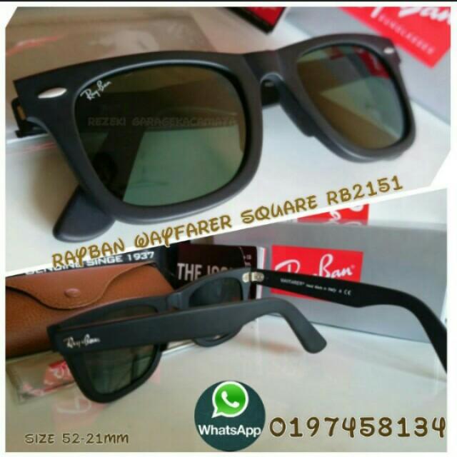 fd60ec8f0e Rayban Wayfarer Rb2151 square 52mm black matte