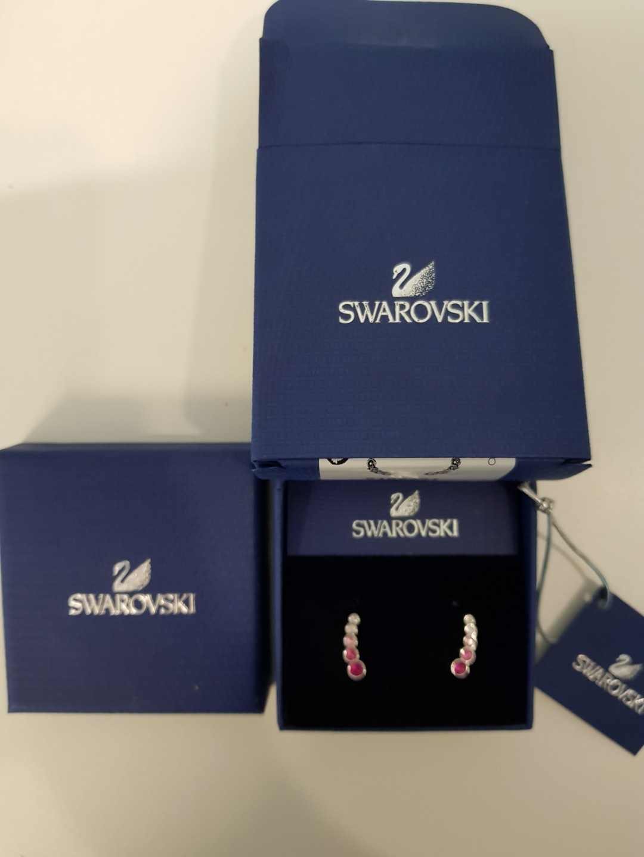 8d3f0ddf1 Swarovski Harley Earlobe Pink Crystal Pierced Earrings Luxury