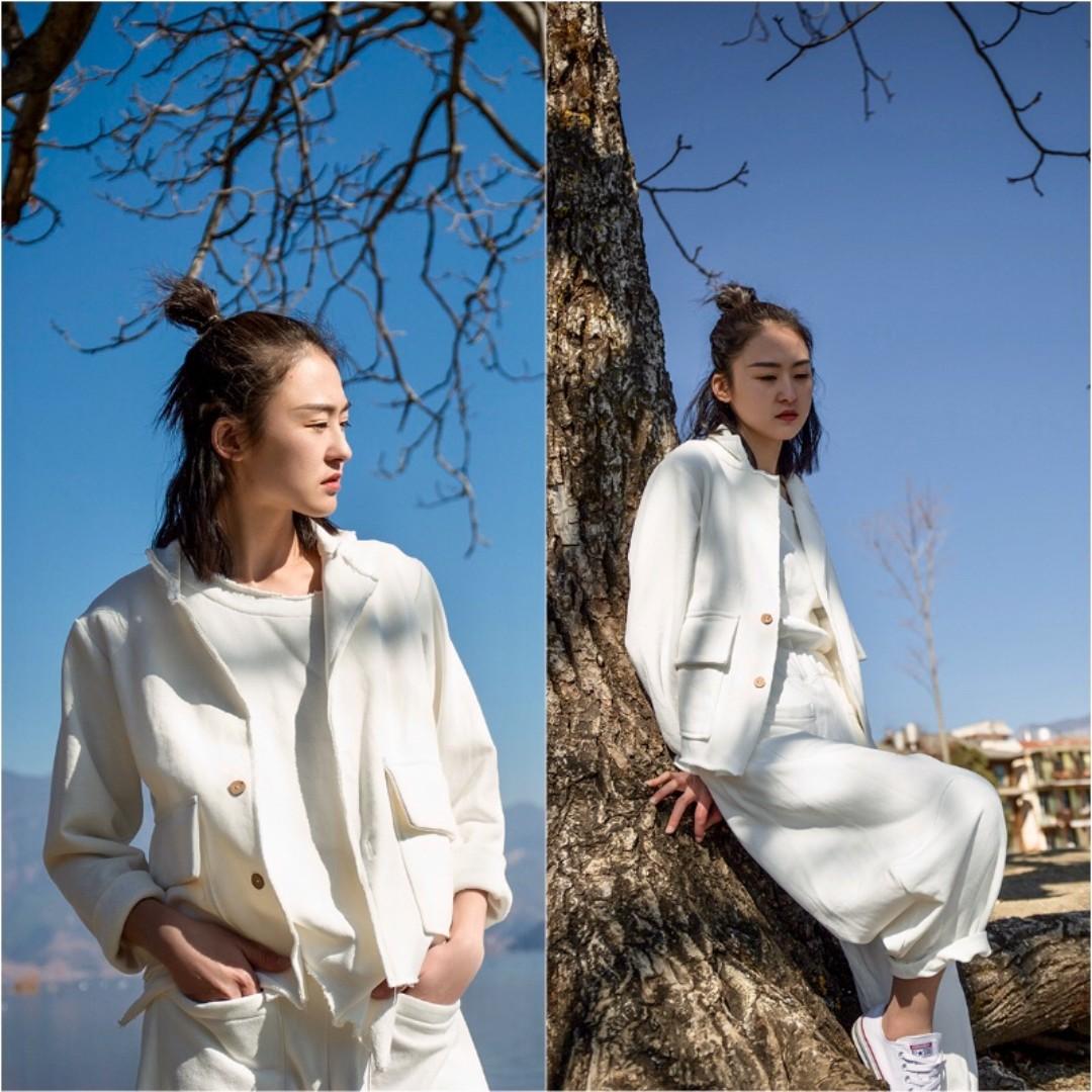 [U'NIDO]原創手作 日常隨心百搭西裝外套- 白色針織/ 天然純棉/ 時尚簡約/ 日常白搭 / 自在舒適/ 暖心禮物