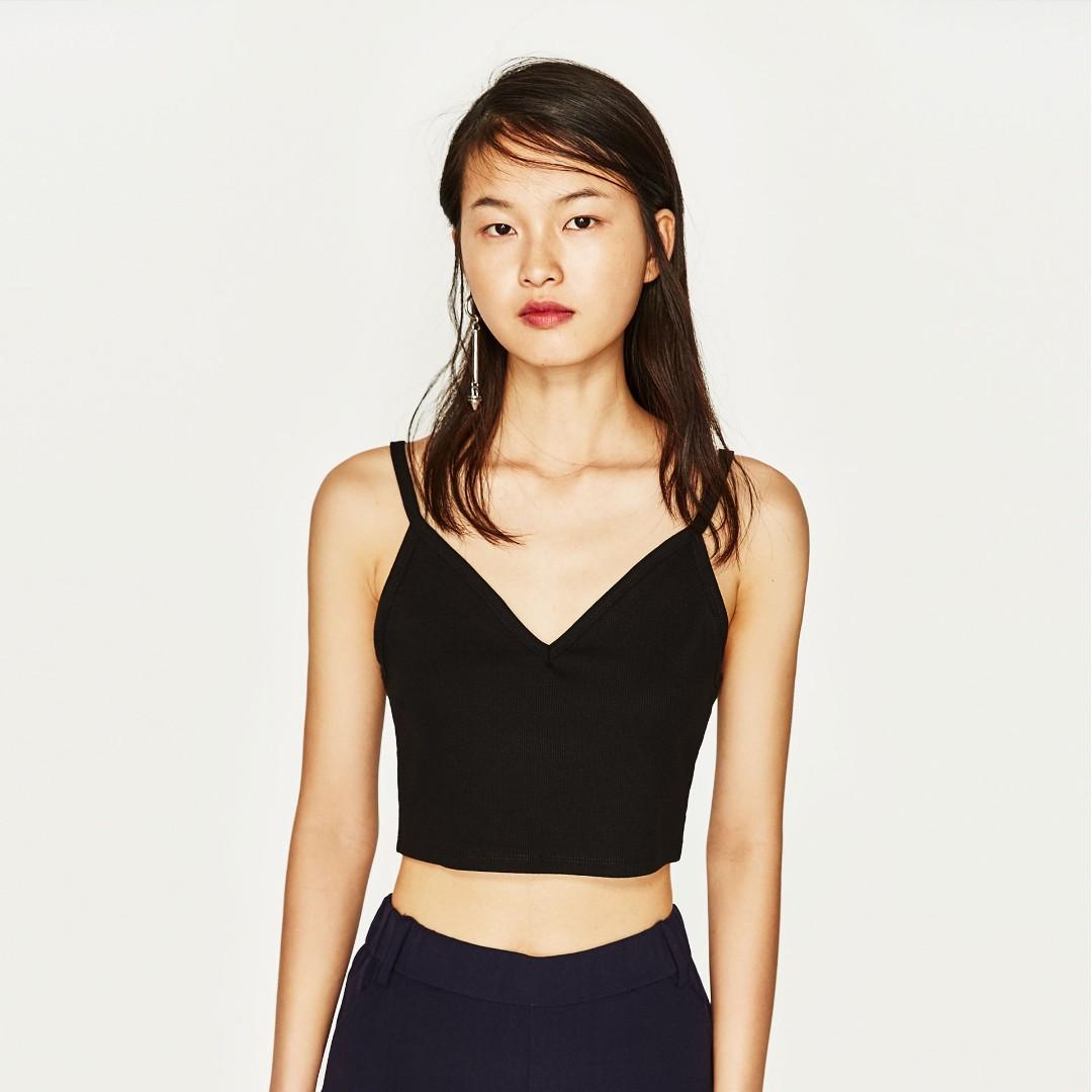 5ca1d7b85a30d Zara - Ribbed Crop Top (Black)