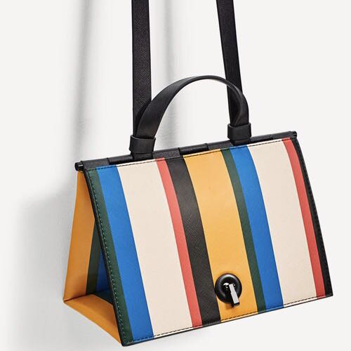 61c4d9003f ZARA Multicolored stripes triangle city bag, Women's Fashion, Bags &  Wallets on Carousell