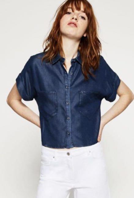 e0ff951b Zara Soft Denim shirt, Women's Fashion, Clothes, Tops on Carousell