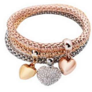 Multi-Layer Charm Heart Pendant Bracelet