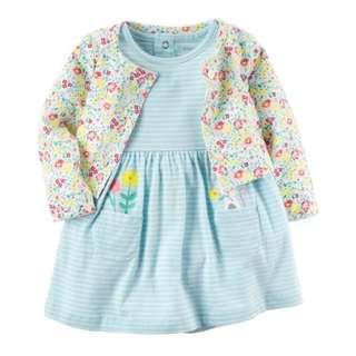 *6M & 9M* Brand New Carter's 2-Piece Bodysuit Dress & Cardigan Set For Baby Girl