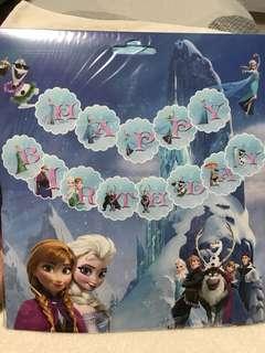 Frozen Theme Happy Birthday Banner