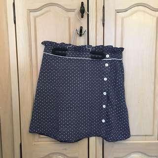 BNWT Navy Spot Ruffle Mini Skirt
