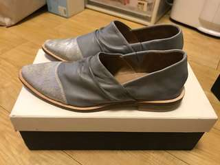 New Initial light grey soft leather shoes 灰色皮鞋 Sz 37