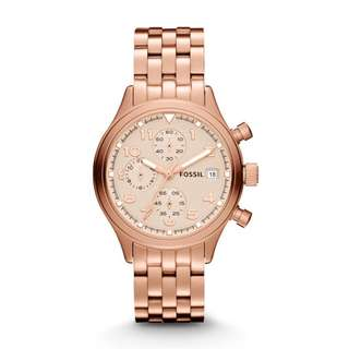 FOSSIL COMPASS ROSE GOLD-TONE STAINLESS STEEL LADIES' WATCH JR1435