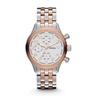FOSSIL COMPASS TWO TONE STAINLESS STEEL LADIES' WATCH JR1433