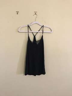 Black Mango Tank with Eyelash Lace