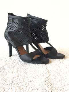 PEPE JEANS Sexy Mesh Peep-Toe Ankle Heel Shoes