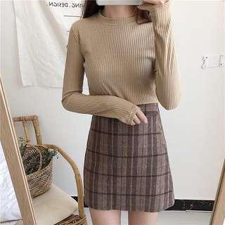 Korean style round neck knit t-shirt in Beige BN