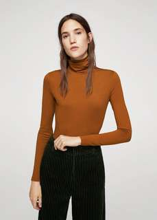 Sienna-coloured Mango Bodysuit with Turtleneck