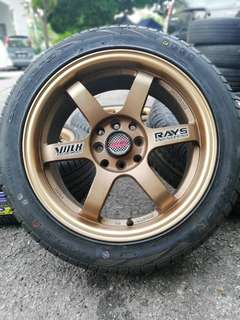 Te37 16 inch sports rim vios tyre baru. *kuat kuat offer*
