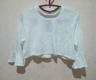 crop tee blouse white