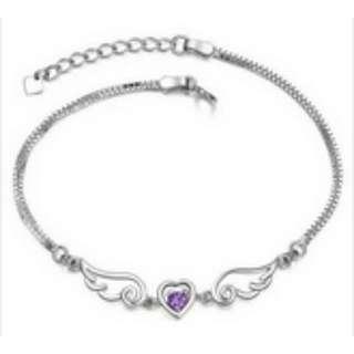 S925 Silver Plated Heart-shaped Amethyst Bracelet