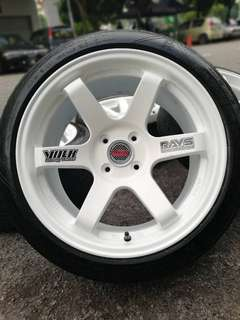Te37 16 inch sports rim vios tyre 70%. *big big offer*