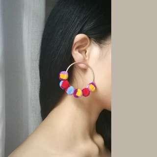 Colorful pompom Earrings