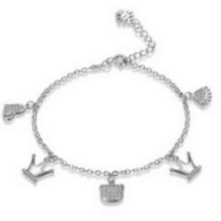 S925 Sterling Silver Crown Heart Shaped Bracelet