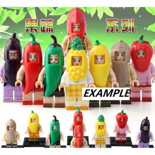 Food and Vegetable Mascot minifig . compatible with others block brick . each $5