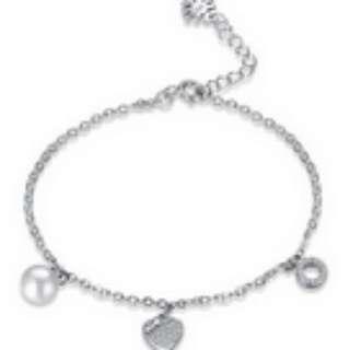 S925 Sterling Silver Pearl Heart Shaped Bracelet