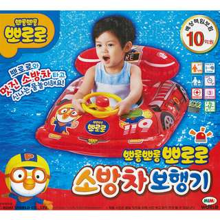 (Free Delivery) Pororo The Little Penguin Red Fire Truck Inflatable Baby Float Swim Ring Seat with with Steering Wheel