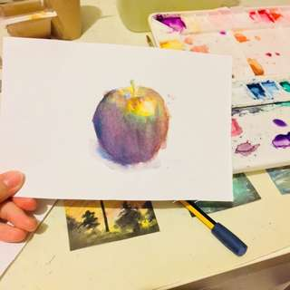 Apple water colour painting