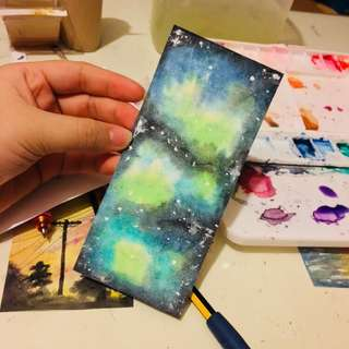 Galaxy water colour painting