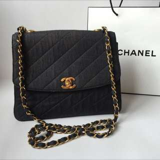 Authentic Chanel Vintage Vinly Denim Flap Chain Bag
