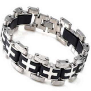 Silver Cross Stainless Steel Black Rubber Bracelet