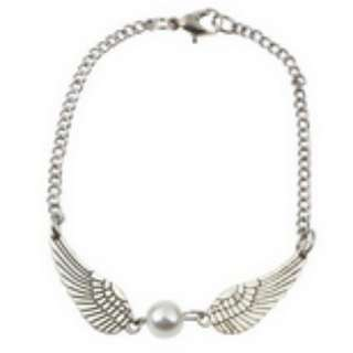 Silver Retro Angel Wings Pearl Bracelet
