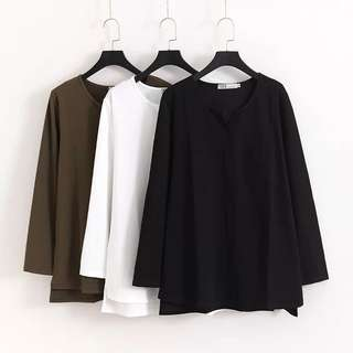 (XL~4XL) Long-sleeved solid color bottoming shirt T-shirt