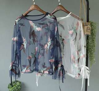 PO - Embroidery Bird Long-sleeved Blouse (2pc set / 2colors)